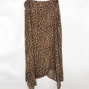 Asymmetrical Cheetah Midi Swing High Waist Skirt